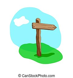 Arrow shape cartoon wooden sign