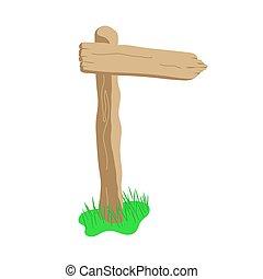 Arrow shape cartoon wooden sign isolated on white