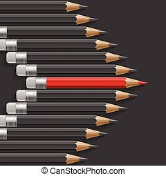 Arrow shape of dark grey pencils with one outstanding red pencil metaphor on black background