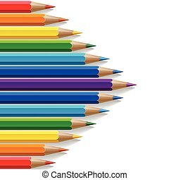 Arrow shape of rainbow colored pencils with realistic shadows on white background