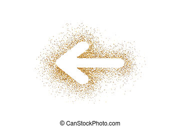 Arrow shape on golden glitter isolated on white background
