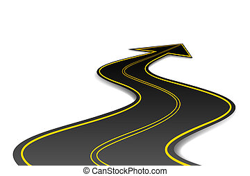 illustration of asphalt road in shape of arrow