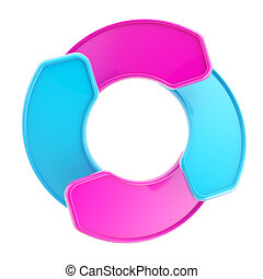 Arrow shape tags forming circle copyspace emblem
