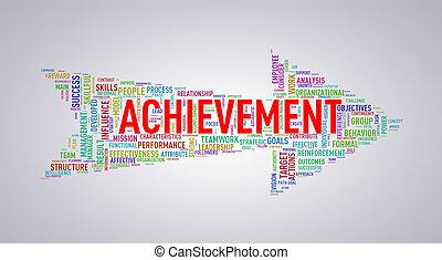 Arrow shape wordtag wordcloud achievement