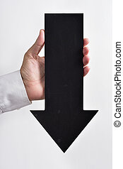 arrow-shaped, baixo, apontar, signboard