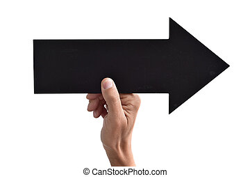 arrow-shaped, direita, signboard, apontar, em branco