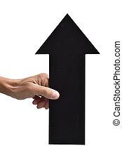 arrow-shaped, signboard, apontar, cima