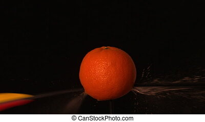 Arrow shooting through orange