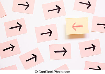 Arrow sign. Different direction, different thinking, idea, creative business concept