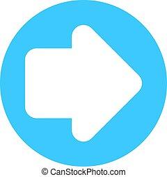 Arrow sign direction icon circle button in circular shape.