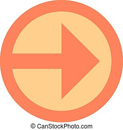 Arrow sign direction icon circle button in circular shape. Quick and easy recolorable shape isolated from background. Vector illustration a graphic element for design