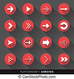 Set of Arrow Sign Flat Icons with long shadow