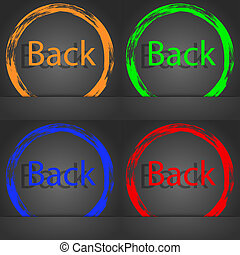 Arrow sign icon. Back button. Navigation symbol. Fashionable modern style. In the orange, green, blue, red design.