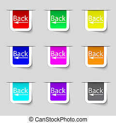 Arrow sign icon. Back button. Navigation symbol. Set of colored buttons