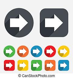 Arrow sign icon. Next button. Navigation symbol. Circles and...