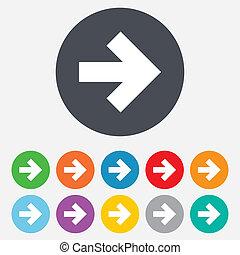 Arrow sign icon. Next button. Navigation symbol. Round ...