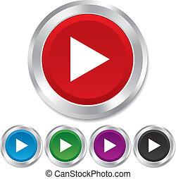 Arrow sign icon. Next button. Navigation symbol. Round metallic buttons. Vector