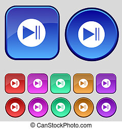 Arrow sign icon. Next button. Navigation symbol. Set colourful buttons. Vector