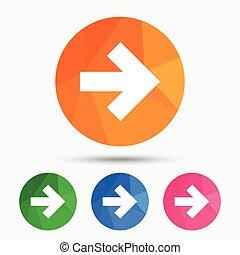Arrow sign icon. Next button. Navigation symbol. Triangular...