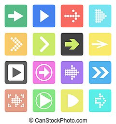 Arrow sign icon set. Flat style