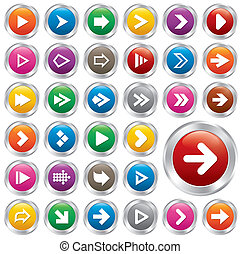 Arrow sign icon set. Internet metallic buttons.