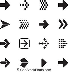 Arrow sign icon set isolated on white background.