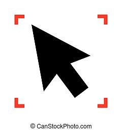 Arrow sign illustration. Black icon in focus corners on white ba