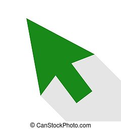Arrow sign illustration. Green icon with flat style shadow path.