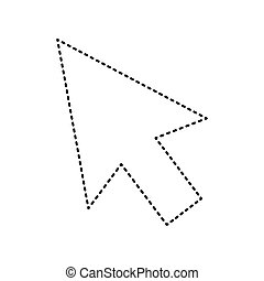 Arrow sign illustration. Vector. Black dashed icon on white background. Isolated.