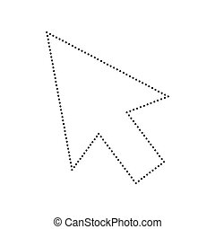 Arrow sign illustration. Vector. Black dotted icon on white background. Isolated.