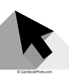 Arrow sign illustration. Vector. Black icon with two flat gray shadows on white background.