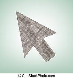 Arrow sign illustration. Vector. Brown flax icon on green background with light spot at the center.