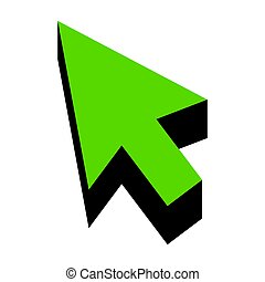 Arrow sign illustration. Vector. Green 3d icon with black side o