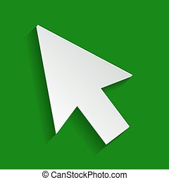 Arrow sign illustration. Vector. Paper whitish icon with soft shadow on green background.