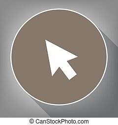 Arrow sign illustration. Vector. White icon on brown circle with white contour and long shadow at gray background. Like top view on postament.