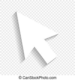 Arrow sign illustration. Vector. White icon with soft shadow on transparent background.