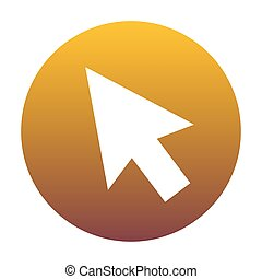 Arrow sign illustration. White icon in circle with golden gradie