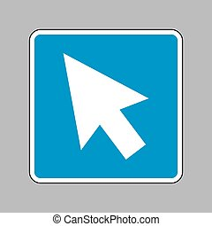 Arrow sign illustration. White icon on blue sign as background.