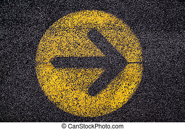 arrow sign in yellow circle
