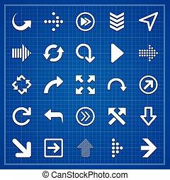 Arrow sign pack on blueprint. Vector elements