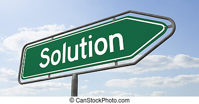 Arrow Signpost - Solution - 3d rendering