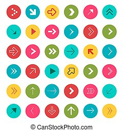 Arrow Signs. Vector Arrows in Colorful Circles Vector.