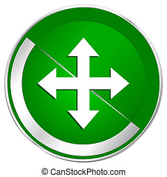 Arrow silver metallic border green web icon for mobile apps and internet.