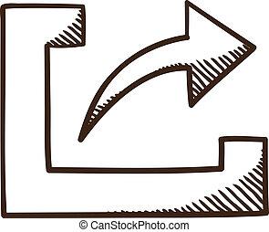 arrow., simbolo, azione, upload