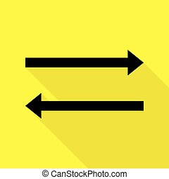 Arrow simple sign. Black icon with flat style shadow path on yellow background.