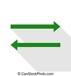 Arrow simple sign. Green icon with flat style shadow path.