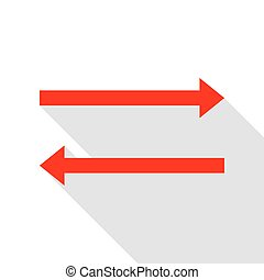 Arrow simple sign. Red icon with flat style shadow path.