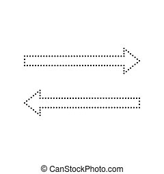 Arrow simple sign. Vector. Black dotted icon on white background. Isolated.