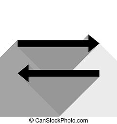 Arrow simple sign. Vector. Black icon with two flat gray shadows on white background.