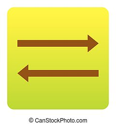 Arrow simple sign. Vector. Brown icon at green-yellow gradient square with rounded corners on white background. Isolated.